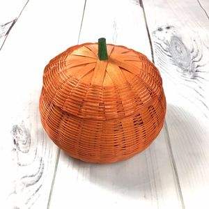 Vintage Pumpkin Basket Wicker with Green Stem Lid
